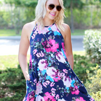Can't Handle Floral Dress - Navy
