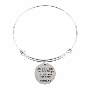 Pink Box Solid Stainless Steel Multi Wrap Bangle - Jeremiah 29:11