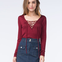 Polly & Esther Project 28 Womens Lace Up Top Burgundy  In Sizes