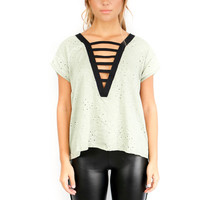 Over The Edge Light Olive Short Sleeve Top