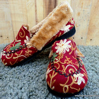 Handmade  Embroidered Floral Plush Lined Womens Slippers Gift