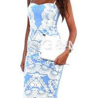 Light Blue Spaghetti Strap Bodycon Slit Dress