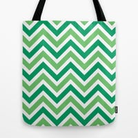 Green Chevron Tote Bag by Tami Art