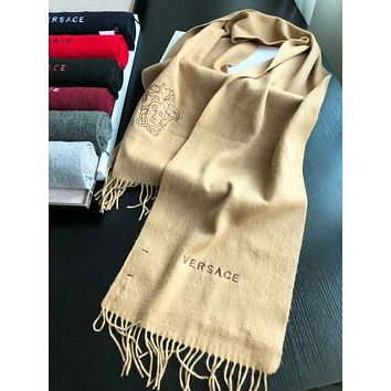 Versace Autumn And Winter New Fashion Human Head Tassel Keep Warm Scarf Women Khaki