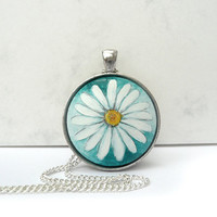 Cobalt Green Flower Necklace, Daisy Pendant, Hand Painted Jewelry, Bezel Necklace, Pendant Tray
