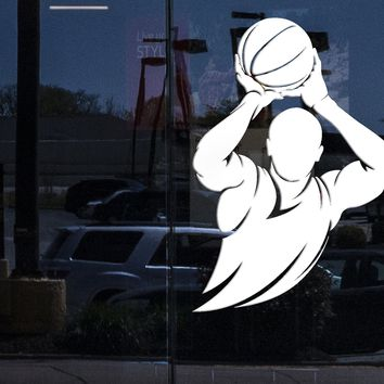 Window Vinyl Wall Decal Basketball Player Silhouette Ball Sports Room Art Stickers Mural (ig5449w)