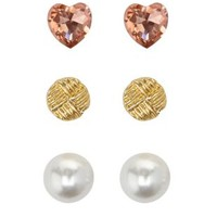 Gold Heart & Pearl 360 Stud Earrings - 3 Pack by Charlotte Russe