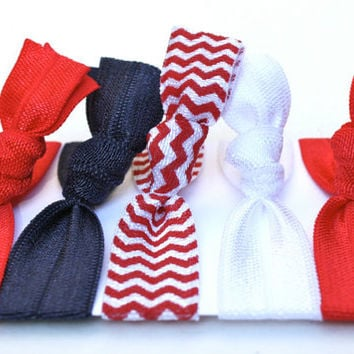 5 Team Spirit Hair Ties - Red, White, Blue Hair Ties - Gentle Ribbon Ponytails - School Colors - Yoga Hair Elastics - Patriotic Hair Ties