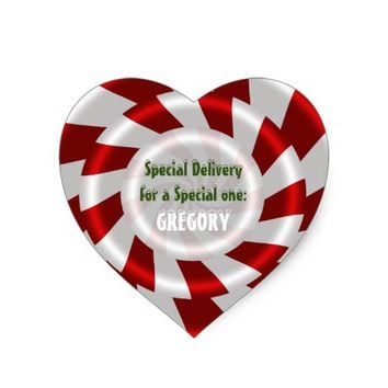 Peppermint Candy Christmas Gift Custom Heart Sticker