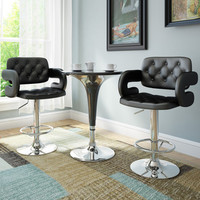 CorLiving Black Leatherette Tufted with Armrests Adjustable Bar Stools (Set of 2)