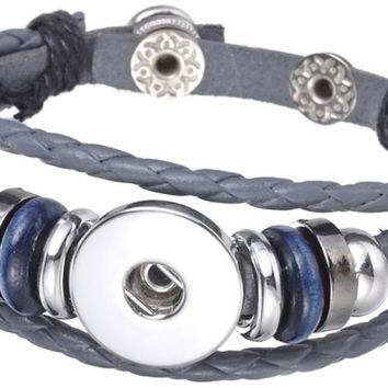 Grey DIY Leather Bracelet Multiple Colors for 18MM - 20MM Snap Jewelry Build Your Own Unique