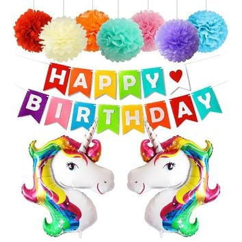 Unicorn Happy Birthday Party Decoration Set-Rainbow Pom Poms