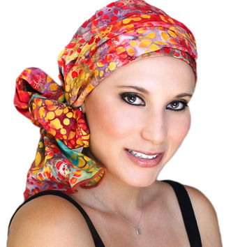 Garden Party Turban, Head Wrap, Alopecia Scarf, Chemo Hat & Scarf Set