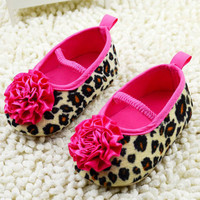 Kids Girl Leopard Baby Shoes Peony Flower Infant Toddler Crib Shoes 0-18Months