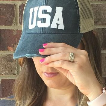 USA Distressed Trucker Hat (Navy or Red)