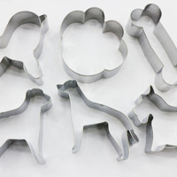 6 pcs/Set DIY Tools Dog Shape Cookie Cutter Cake Decorating Fondant Cutters Tool Cookies Stainless Steel Biscoito