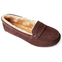Faux Soft Suede Fur Lined Moccasin Loafers Chocolate