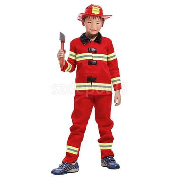 Kids Boys Red Firefighter Suit Halloween Party Role Play Christmas Fancy Dress Fireman Hat Costume Uniform Outfit