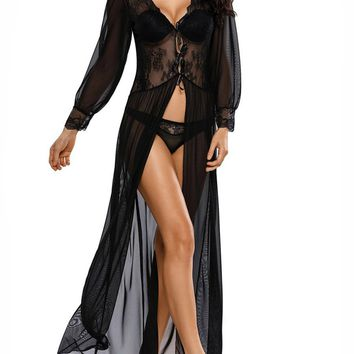 Streetstyle  Casual Deep V-Neck  Lace-Up See-Through  Lace Sexy Nightgown