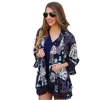 Boho Women Kimono Cardigan Vintage Blue Floral Printed Lace Shawl Blouses Bikini Beach Cover Up Blouse