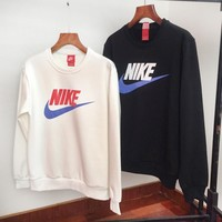 NIKE fashion casual couple matching colour crochet mink sweater with round collar