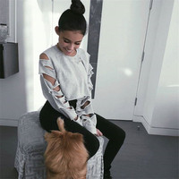 Women's Trending Popular Fashion 2016 Loose Round Necked Crop Top Bare Midriff Rip Sweatshirt Shirt top T-shirt _ 8639
