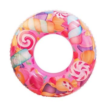 Swimming Pool beach Inflatable Swimming Ring Colorful Candy Round Shaped Thicken Float Seat Pool Floats Accessories Adults Kids Inflatable ToysSwimming Pool beach KO_14_1