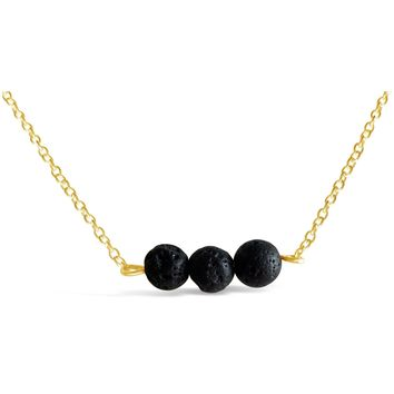 Aromatherapy Necklace - Daily Essential Oil Diffuser With Lava Beads Stone
