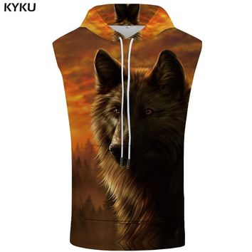 KYKU Brand Wolf Sleeveless Hoodies Men Animal Shirt Forest Fitness Gothic Stringer Bodybuilding Shirts Mens Clothing 2018