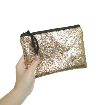 Chunky Gold Glitter Cosmetic Bag