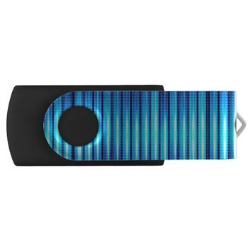 Abstract Cyan Blue Steady Lights USB Flash Drive