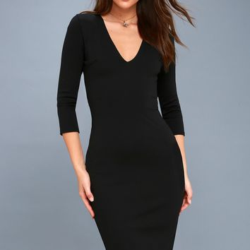 Style and Slay Black Bodycon Midi Dress