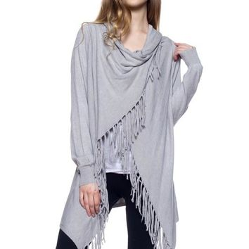 Shawl Poncho Cardigan Grey