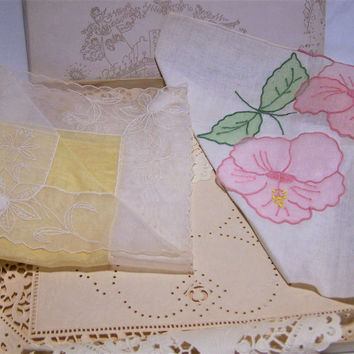 5 Macys Linen Embroidered Hankies, Original Box and Labels,  Bridal Something Old Item, Authentic Mid Century Floral Handkerchief 317