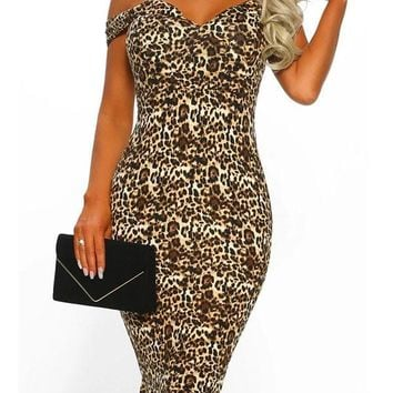 Leopard Print Off Shoulder Bodycon Mermaid V-neck Party Clubwear Midi Dress