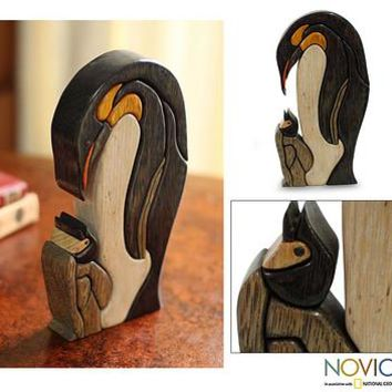 Wood sculpture, 'Mother Penguin'