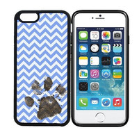 iPhone 6 (4.7 inch display) Designer Black Case - Muddy Dog Paw Print - Chevron Zig Zag Blue