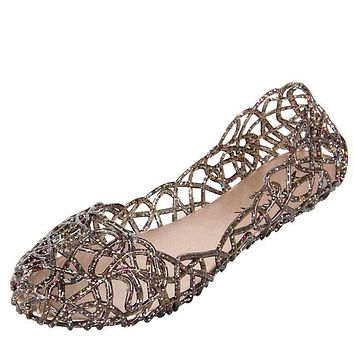 Womens Summer Jelly Ballet Flat Shoes Brown Clearance
