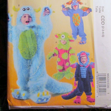 SALE Uncut McCall's Sewing Pattern, 6628! Toddlers/Kids/Children's Halloween Costumes/Dragons/Monsters/Bulls/where the wild things are