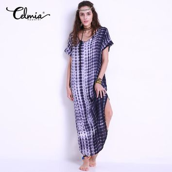 2018 Celmia Summer Women Dress Tie Dye Print Side Split Loose Long Beach Dress Curved Hem Short Sleeve Maxi Dress Plus Size