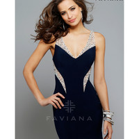 Preorder - Faviana 7665 Navy V-Neck Embellished Short Jersey Dress 2015 Homecoming Dresses