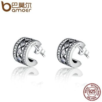 925 Sterling Silver Square Vintage Clear CZ Stud Earrings for Women