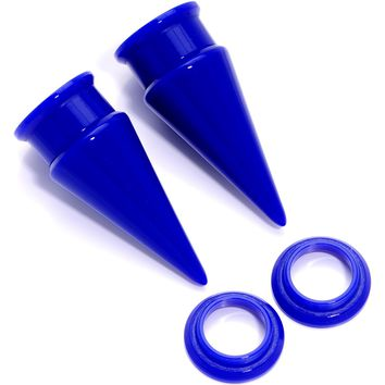 """9/16"""" Blue 2 in 1 Interchangeable Screw Fit Plug and Taper Set"""