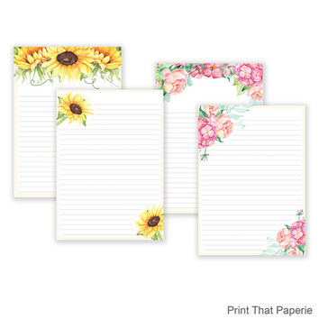 Floral Printable Writing Paper - Stationary Paper - Flower Letter Writing Set - Note Paper - Journal Pages - Flower Scrapbooking Paper