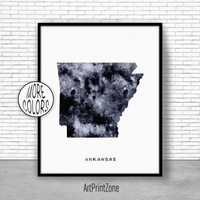 Arkansas Art Print Arkansas Decor Arkansas Print Arkansas Map Art Print Map Artwork Map Print Map Poster Watercolor Map ArtPrintZone