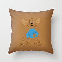 Winnie the Pooh Roo Nursery Art Retro Style Minimalist Poster Print Throw Pillow by The Retro Inc