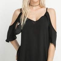 Black Open Shoulder Vneck Top