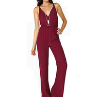 Burgundy Chiffon V Neck Open Back Jumpsuit