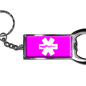 Star of Life - Pink Bottle Opener Keychain