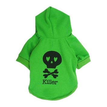 DCCKH6B Halloween Fleece Black Skeleton Pet Dog Puppy Clothes with Hood Sweater pullover